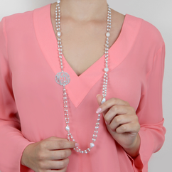 Silver Sideways Monogram Necklace with Large Pearls and Gem Stones