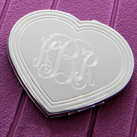 Personalized with Monogram Silhouette Heart Compact
