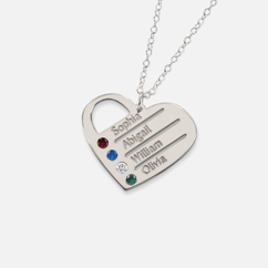 Silver Heart Family Necklace Personalized with Swarovski Birthstones