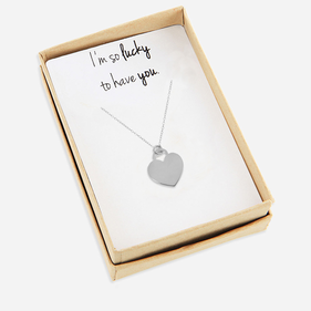 Silver Heart Necklace Personalized with Special Message