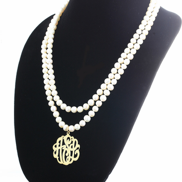 Pearl Necklace with Monogram Pendant
