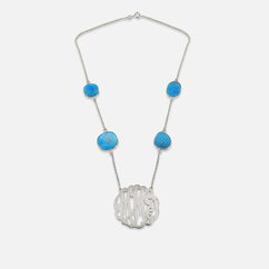 Silver Monogram with Gemstone Necklace