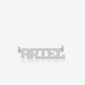 Silver Small Block Letter Name Pendant
