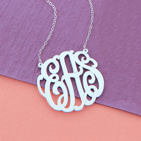 Silver Small Monogram Necklace/ split chain