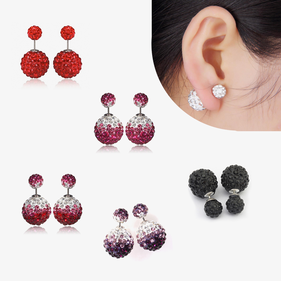 Silver Stud Double Sided Crystal Balls Earrings