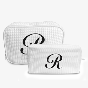 Single Initial Waffle Makeup Bag