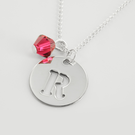 Small Circle Necklace Personalized With Initial And Slide In Swarovski Birthstone