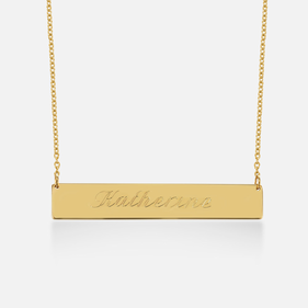 Solid Gold Bar Necklace Personalized with Engraved Name