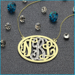Solid Gold Oval Monogram Necklace with stones