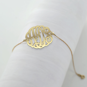 Solid Gold Personalized Monogram Bracelet