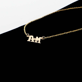 Solid Gold Personalized Two Initial Necklace w/ Diamond stone