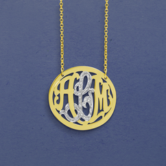 Solid Gold Round Monogram Necklace with stones