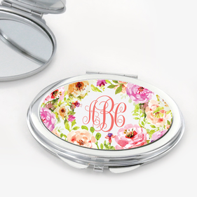 Spring Flowers Monogram Oval Shaped Compact Mirror