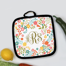 Spring Flowers Monogram Pot Holder