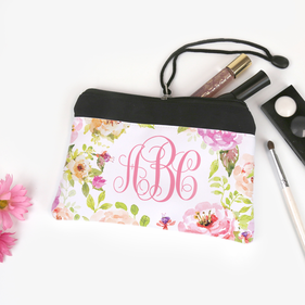 Spring Flowers Personalized Monogram Cosmetic Bag