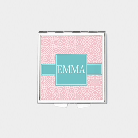 Square Geometric Design Personalized with Name Pill Box