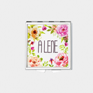 Square Spring Flowers Personalized with Name Pill Box