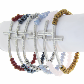 St.Steel Sideways Cross Stretch Bracelet