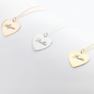 Sterling Silver and Gold over Silver Engraved Heart Necklaces