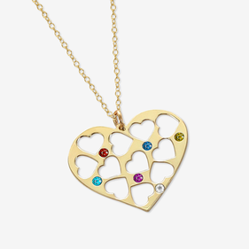 Sterling Silver Birthstone Cut Out Heart Necklace