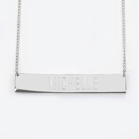 Sterling Silver Block Letter Name Bar Necklace