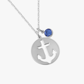 Sterling Silver Cut-Out Anchor Necklace