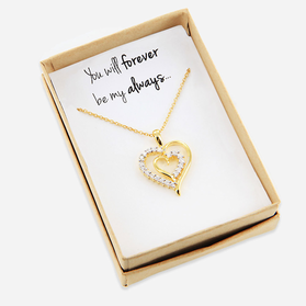 Sterling Silver CZ Stone Heart Necklace Personalized with Special Message
