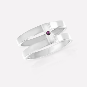 Sterling Silver Double Strap Ring with Birthstone