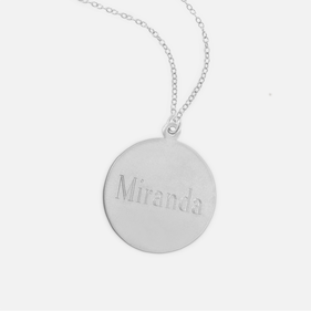 Sterling Silver Engraved Name Necklace Block Letter