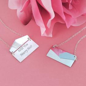 Sterling Silver Envelope Necklace Personalized with Message