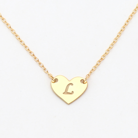 Sterling Silver Heart Initial Custom Necklace