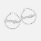 Sterling Silver Hoop Name Earring