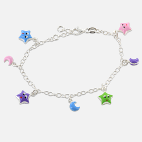Sterling Silver Kids Bracelet with Pendant