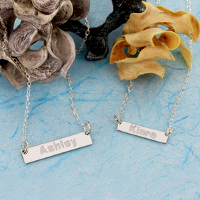 Sterling Silver Mini Bar Name Necklace