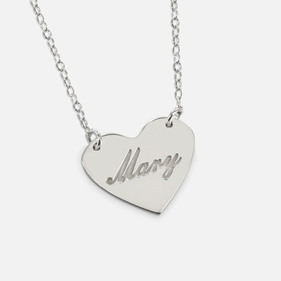 Sterling Silver Mini Heart Name Necklace