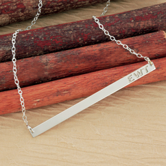 Sterling Silver Monogram Initial Bar Necklace