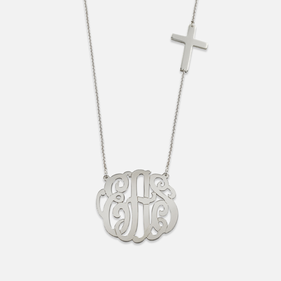 Sterling Silver Monogram Necklace with Cross