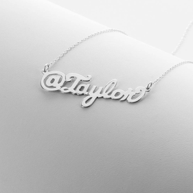 Sterling Silver Script @Name Necklace