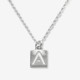 Sterling Silver Necklace Personalized with Cut Out Initial Pendant