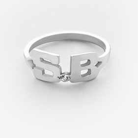 Sterling Silver One Stone Two Initial Ring