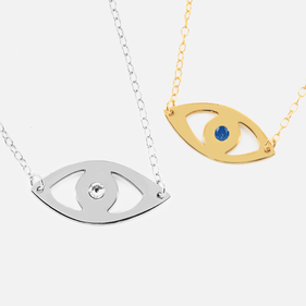 Sterling Silver Evil Eye Necklace Personalized with Swarovski Birthstone