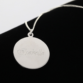 Sterling Silver Pendant Engraved with Script Name