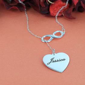 Sterling Silver Personalized Infinity Heart Necklace