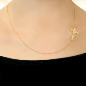 Personalized Sideways Cross Necklace