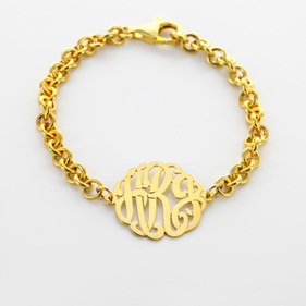 Sterling Silver Personalized Monogram Bracelet