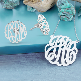 Sterling Silver Personalized Monogram Necklace and Earrings Set