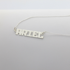 Sterling Silver Small Block Letter Name Necklace