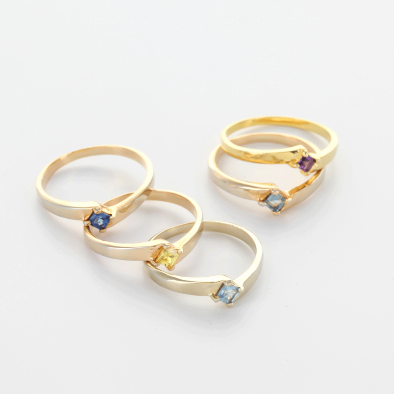 sterling silver stackable family birthstone rings