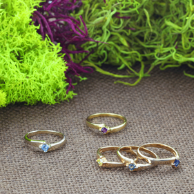 Sterling Silver Stackable Birthstone Rings