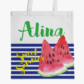 Sweet Summer Large Personalized Kids Tote Bag